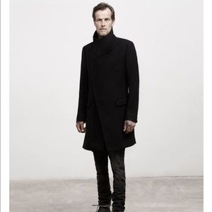 All saint black wool long coat size 38
